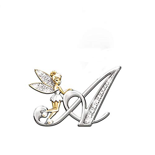 Broche de cristal de Metal para mujeres y niñas letras broches de hadas de flores broches de ala de hadas encantadoras joyería-A