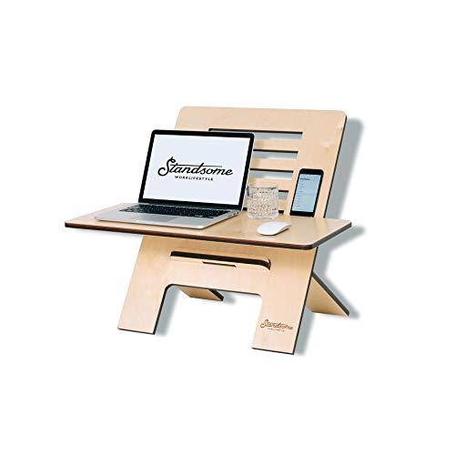 Standsome Slim Crafted med bred nivå – höjdjusterbart skrivbordsfäste av trä, säte stående skrivbord, höjdjusterbart ståbordsfäste, arbetsstation, ergonomiskt ståskrivbord