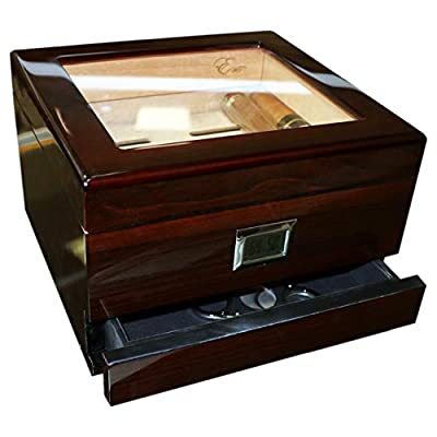 EWT High Gloss Cigar Humidors 30Ct with Drawer