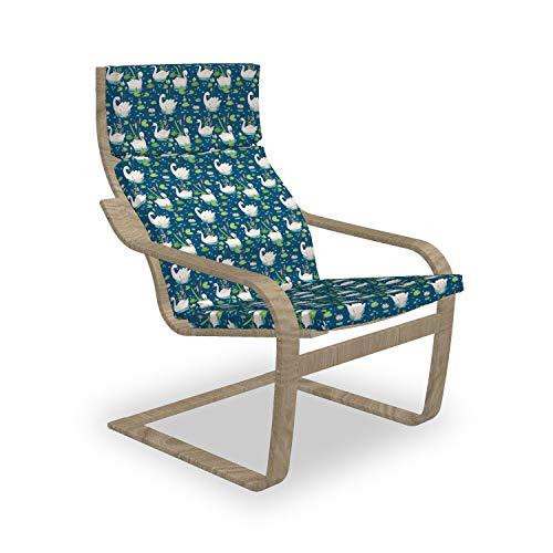 ABAKUHAUS Swans Poäng Sessel Polster, Wasservögel Lotus Blumen, Sitzkissen mit Stuhlkissen mit Hakenschlaufe und Reißverschluss, Lime Green Seafoam