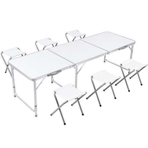Homfa 180cm Folding Table Adjustable Height Picnic Table Portable Camping Table Outdoor Garden Table for BBQ, Picnic, Parties, Banquet (White)