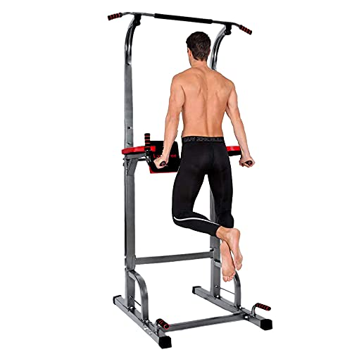 Power Tower Dip Station Pull Up Bar - Home Gym Adjustable Multi-Function Fitness Equipment,400LBS