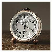目覚まし時計 クリエイティブビンテージレトロな目覚まし時計の静かなホームクロックプレイベッドサイドのテーブルクロックライトベッドサイドの家の装飾テーブル腕時計 (Color : R)