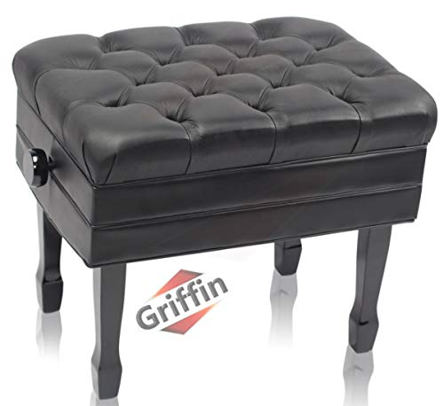 Genuine Leather Adjustable Piano Bench by GRIFFIN | Black Solid Wood Vintage Style & Heavy-Duty Ergonomic Keyboard Stool | Cushion Seat With Storage Space | Home Vanity Bench or Musicians Guitar Chair