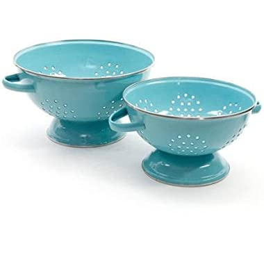The Pioneer Woman Flea Market 2-Pack Metal Colander, 3-Quart and 5-Quart (Turquoise)