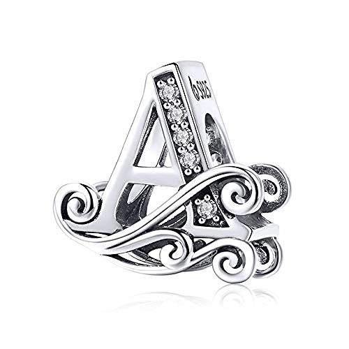 Zilveren kralen bedels, echte 925 sterling zilveren letter alfabet AZ charme naam kraal fit originele armbanden hanger sieraden maken