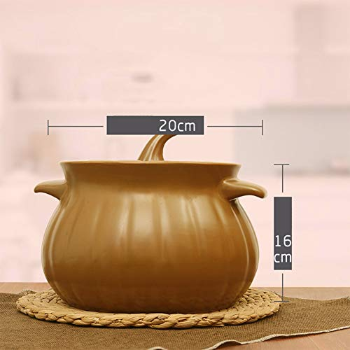 ZQ&QY Tragbare Haushalt Geschenk Dutch Oven,Kürbis Keramik Kasserolle,Hohe Kapazität Auflauf,Suppe Chowder Stew Töpfe/Pfannen Halten Sie Köstliche Ernährung 4.6l
