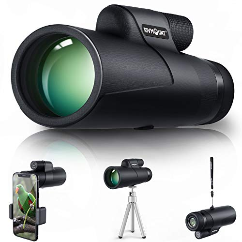RIVMOUNT Monocular for Adults and Kids Compact 10x42 HD BAK4 Prism FMC Lens Durable for Travel Hiking Birdwatching and Matchwatching with Tripod