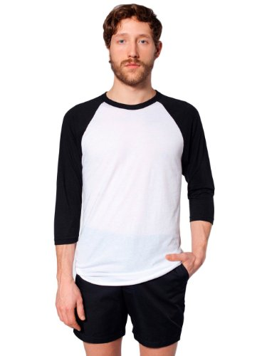 T-shirt Raglan Manches 3/4 en Poly-Coton - White / Black / XL