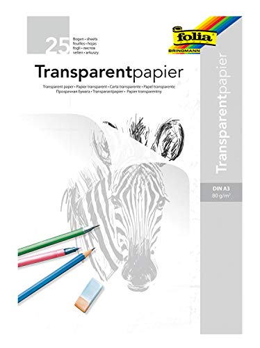folia 8050/25 - Transparentpapier Block, DIN A3, 80 g/qm, 25 Blatt, weiß transparent, zum Abpausen, Zeichnen und Skizzieren