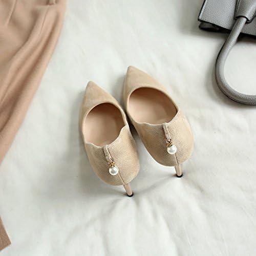 Xue Qiqi Tacones de satén schwarz con la punta de un zapato beige, con elegantes schuhe de trabajo profesional,34, beige 7cm