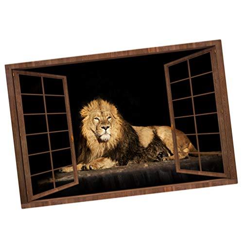 WINOMO 3D Gefälschte Fenster Löwe Wandaufkleber Löwe Tapete Abnehmbare Fensteransicht Wandbild für Wohnzimmer Schlafzimmer Büro