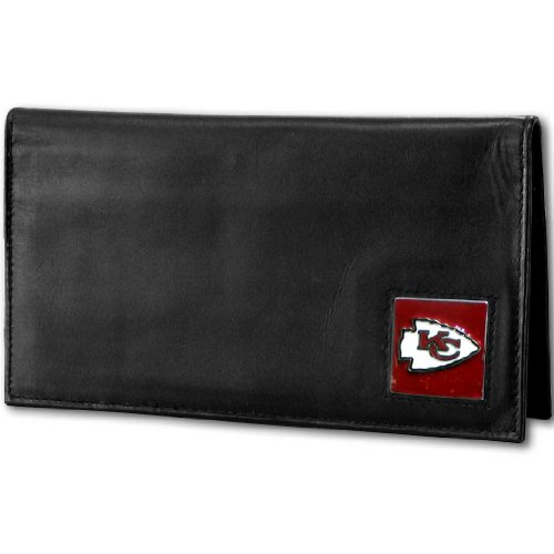 NFL Siskiyou Sports Fan Shop Kansas City Chiefs Deluxe Leather Checkbook Cover One Size Black