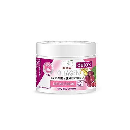 Victoria Beauty - Collagen Creme, straffende Gesichtscreme mit Traubenkernöl und L-Arginine, Augencreme gegen Falten, dunkle Augenringe und Tränensäcke (1 x 50 ml)