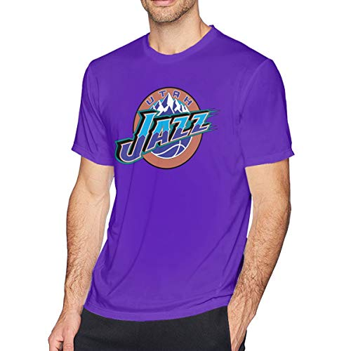 Utah-Jazz Men's Cotton Adult Short-Sleeved T-Shirt, Suitable for Outdoor Activities, Sports and Other Occasions Purple XXL