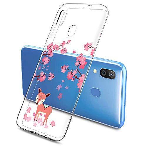Oihxse Funda Compatible con Huawei P8 Lite 2017, Carcasa Silicona Transparente TPU Ultra Hybrid Protector Flexibilidad Gel Flores de Cerezo Romance Dibujos Diseño(Flores A2)