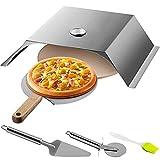 VEVOR Horno de Pizza para Exterior 48x35x17cm Horno Exterior a Leña para Pizza 50-300 ℃ Horno de Pizza Portátil al Aire Libre de Acero Inoxidable con Piedra Cordierita Termómetro 3 Accesorios Barbacoa