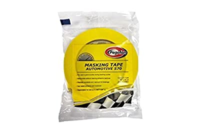PEGAFAN AUTOMOTIVE PERFORMANCE VALUE PACK (5 ROLLS) Refinish YELLOW Masking Tape 3/4 x 55yd. 200 F Performance Temperature, 28 lbs\in Tensile Strength. #1 Voted in specialized painting Workshops.