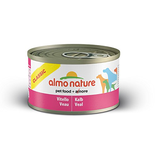 almo nature Comida Húmeda para Perros Natural de Ternera (24 latas x 95 g). Alimento para Perros Monoproteíco Enlatado HFC Cuisine. Snack Complementario sin Gluten. ⭐