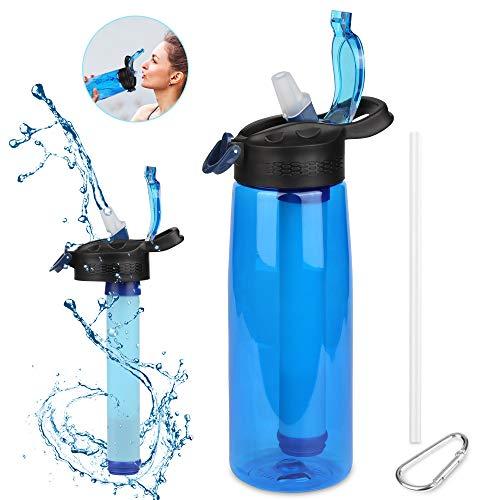 Etmury Wasserfilterflasche, Wasserflasche mit 2-stufiger Filtration Entfernt Bakterien und Protozoen,Reduziert Chemikalien und schlechten Geschmack für Wandern, Camping, Reisen, Outdoor-Sport