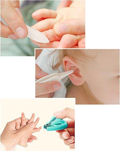 DEBAIJIA Baby Nagelpflege Set 4-teiliges, Nagelknipser Nagelschere Nagelfeile und Nasen Pinzette Neugeborene Geschenk – Grün - 5