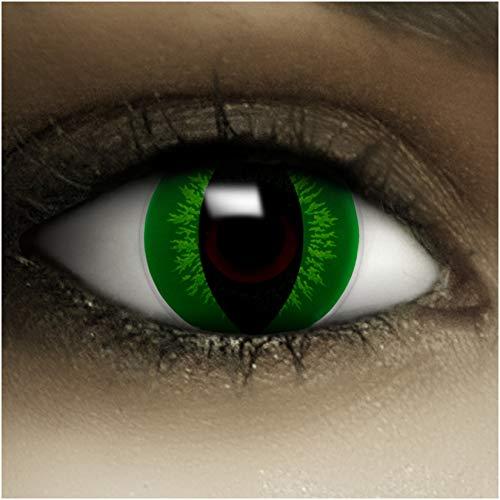 Farbige Kontaktlinsen ohne Stärke Hulk + Kunstblut Kapseln + Kontaktlinsenbehälter, weich ohne Sehstaerke in grün, 1 Paar Linsen (2 Stück)