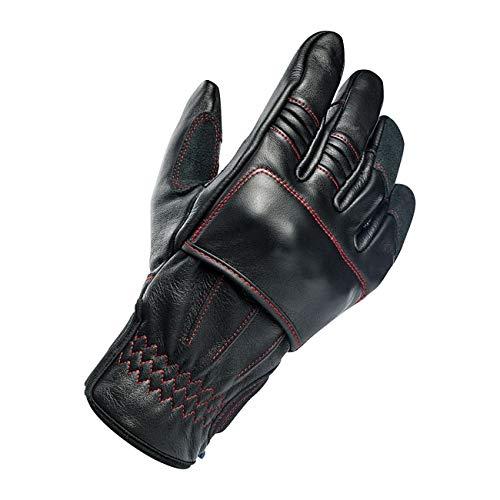 GZM Guantes para Hombre o Moto de Piel Biltwell Belden Black/Redline Negro/Rojo Aprobado por EC Refuerzos en Nudillos Biker Moto Custom Talla M