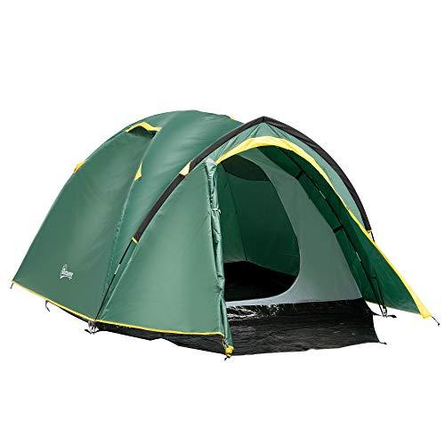 Outsunny Tente de Camping 2-3 Personnes Montage Facile 2 Portes fenêtres dim. 3,25L x 1,83l x 1,3H m Fibre Verre Polyester PE Vert