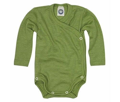 Cosilana Baby Wickelbody aus 70% Wolle und 30% Seide kbT (50-56, Grün)