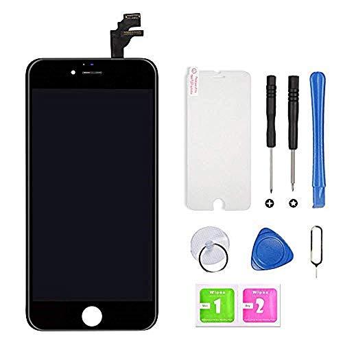 Hoonyer Display per iPhone 6 Schermo (4.7 Pollici) LCD Touch Screen Frame Nero Vetro Schermo Kit Smontaggio Trasformazione Completo di Ricambio Utensili Inclusi