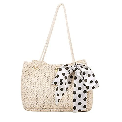 Bolsas de paja, bolso de mano de playa de verano con asa tejida para mujeres y niñas, Hombre, beige, Talla única
