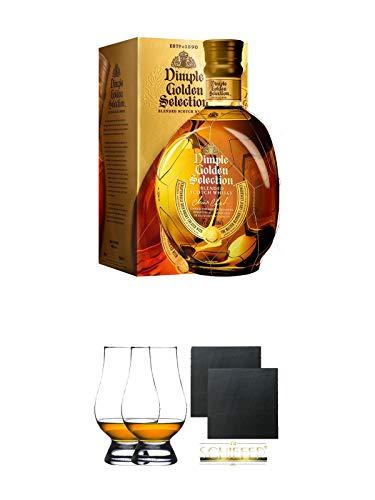 Dimple Golden Selection Blended Scotch Whisky 0,7 Liter + The Glencairn Glas Stölzle 2 Stück + Schiefer Glasuntersetzer eckig ca. 9,5 cm Ø 2 Stück