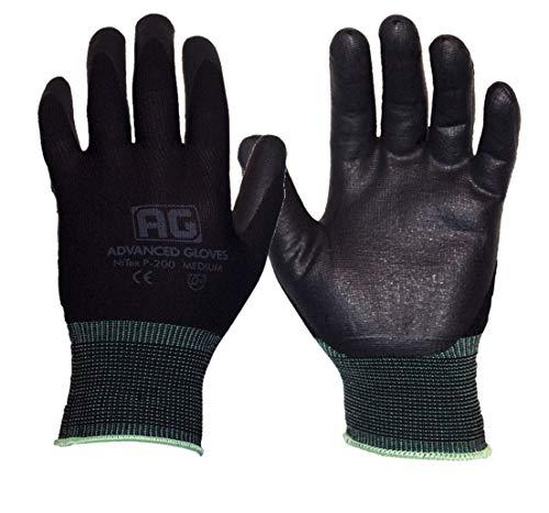 AG NiTex P-200 BK-6P, Nitrile Foam Coated Gloves, 6 Pack (Large)
