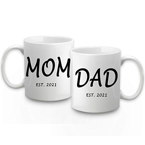 Mom Dad Est 2021 Mom and Dad Coffee Mug Set Est 2021 Mom Dad Mugs New Parents Gifts New Pregnancy Gifts Birthday Christmas Gifts for New Mom Dad 2 Pack 11 Ounce