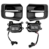 LED Driving Fog Light Assembly Compatible with 2016-2021 Toyota Tacoma TRD PRO Clear Lens & Black Bezel