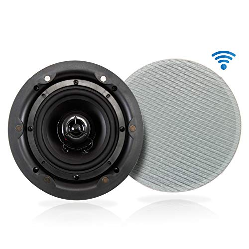 """Ceiling and Wall Mount Speaker - Wireless Bluetooth 5.25"""" Dual 2-Way Audio Stereo Sound Subwoofer..."""