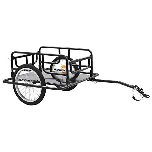lyrlody- Fahrradanhänger, 50 KG Transportanhänger Lastenanhänger Radanhänger Gepäckwagen Anhänger Handwagen aus Stahl, Schwarz, 130 x 73 x 48,5 cm