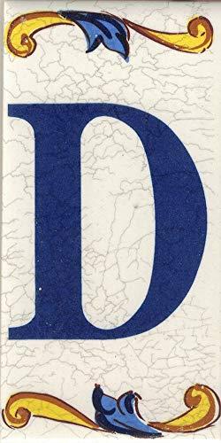 TORO DEL ORO Números casa. Numeros y Letras en azulejo. Calca cerámica. Estilo craquelé. Nombres y direcciones. Diseño Craquelé Grande 7,5x15 cms (Letra'D')
