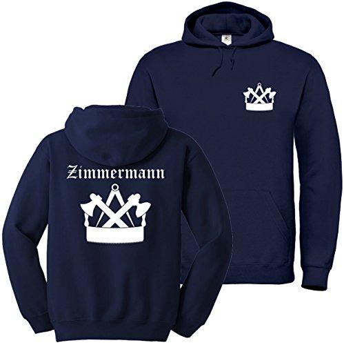 """Textildruck Universum Hoodie Zimmermann Zunftwappen 3\"""" S bis 5XL (XL, Dunkelblau)"""