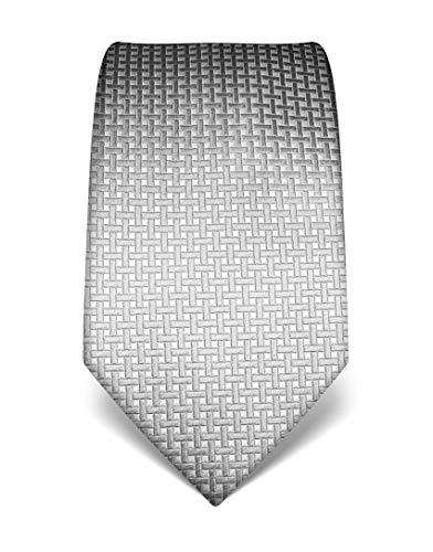 Vincenzo Boretti Herren Krawatte reine Seide Karo Muster kariert edel Männer-Design zum Hemd mit Anzug für Business Hochzeit 8 cm schmal/breit grau