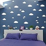 31 pegatinas de pared de nubes de tamaño mixto, de 4 a 10 pulgadas, para decoración de dormitorio de niños, decoración del hogar, vinilo nubes mural de bebé, cuarto de bebé, papel pintado (blanco)