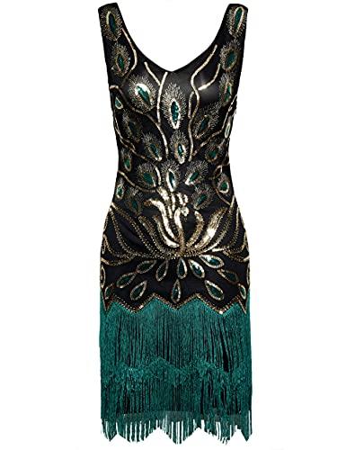 Coucoland 1920s Kleid Damen V Ausschnitt Ärmellos Pfau Feder Muster Flapper Fransen Kleid 20er Jahre Paillettenkleider Great Gatsby Cocktail...
