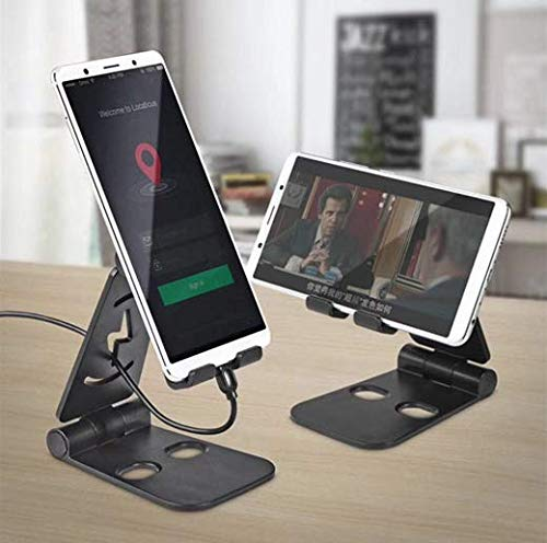 Cell Phone Stand Cell Phone Holder Adjustable iPhone Stand Foldable Mobile Phone Stand for Desk Tablet Stand Solid Aluminum Stand