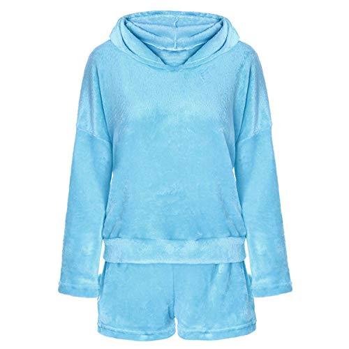 2 unids Mujeres Gato Pijamas Cute Girls Meow Sleepwear Suave Albornoz Shorts Winter Lounge Sleepwear Sets (Color : Sky Blue, Size : L)