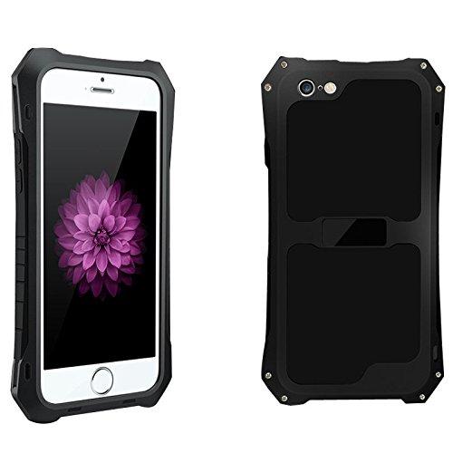2016 R-just in alluminio, impermeabile, anti-polvere, custodia in metallo e vetro Gorilla Glass, in gomma antiurto di protezione resistente agli urti militare per iPhone 5/5s/SE, colore: nero