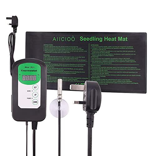 AIICIOO Tapis chauffant pour semis avec contrôleur de thermostat – Tapis chauffant pour plante de germination de graines avec régulateur de température