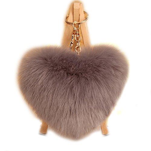 URSFUR Schlüsselanhänger aus kunstfertig Fellbommel Bommel Geburtstagsgeschenk Taschenanhänger Herz Kugel Handyanhänger - grau