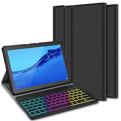 ELTD Funda con Teclado Español Ñ para Huawei MediaPad T5 10 10.1, Teclado inalámbrico 7 Colores Cubierta de Teclado retroiluminada de Tres particiones, (Negro)