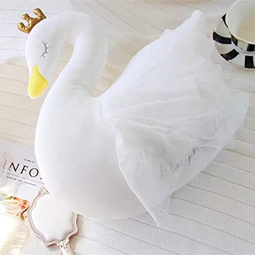 Doinbtoy Plüschtier Schwan Kissen weiches Baby beruhigendes Puppengeschenk 35cm weißes Garn