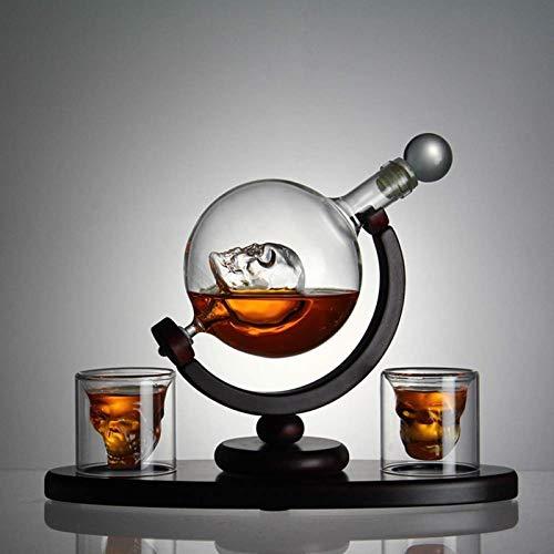 Vidrio Juego De Decantador De Whisky De Calavera Con Base De Madera, 2 Vasos De Chupito De Calavera, Bandejas Para Cubitos De Hielo, Dispensador De Licor Para Licor, Vodka Escocés Y Bourbon